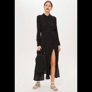 Topshop Black Polka Dot Pleated Dress (NWT)